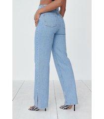 angelica blick x na-kd ekologiska raka jeans med slitsdetalj - blue