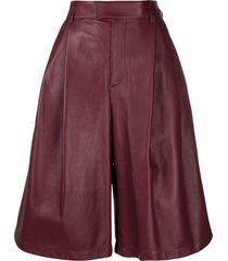 bottega veneta high-waist wide-leg shorts - red