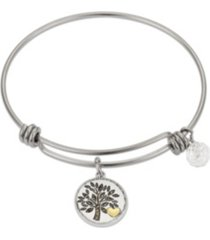 """unwritten marcasite crystal """"my family, my everything"""" tree adjustable bangle bracelet in stainless steel and gold two-tone fine silver plated charms"""