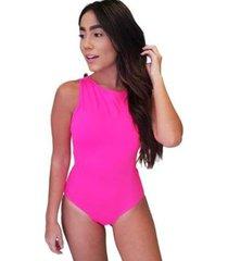 body maio regata rosa recortes aberto costas - feminino