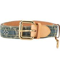 louis vuitton pre-owned logo denim belt - blue