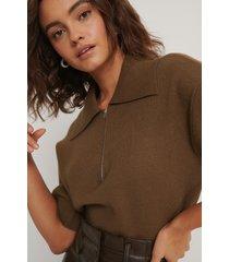 na-kd trend tröja med dragkedja - brown