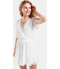 vita swiss dots godet mini dress - white