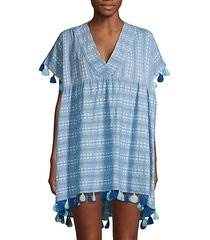 tessora women's luna tassel embellished cover-up - chambray - size xs/s