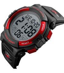 reloj deportivo digital impermeable skmei 1258 negro rojo