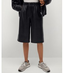 leather effect bermuda shorts