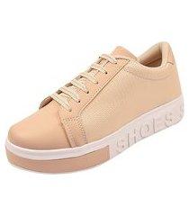 tenis feminino amendoa sneaker shoes sapatênis calce fácil rosa