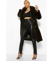 pluizige faux fur jas met dubbele knopen, khaki