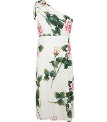 dolce & gabbana one-shoulder rose printed dress