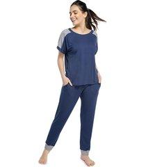 pijama feminino com bolso azul intenso com canelado mescla - azul marinho/cinza - feminino - viscose - dafiti