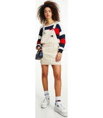 tommy hilfiger women's organic cotton denim overall dress smooth stone - m