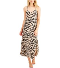 inc satin zebra-print long chemise nightgown, created for macy's