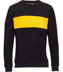 polar fleece embossed crew sweat-shirt tröja svart superdry