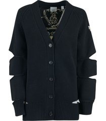 burberry back logo knit cut-out sleeve detail cardigan