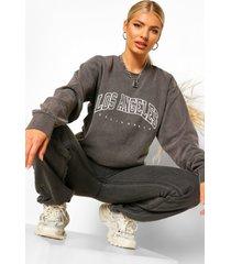 gebleekte extreme oversized la sweater met tekst, charcoal