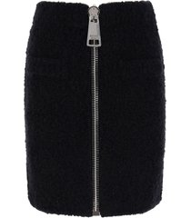 moschino boucle mini skirt with maxi zip