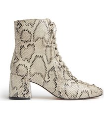 new kika bootie - 8.5 natural snake snake embossed leather