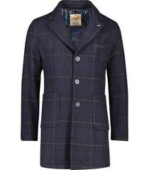 bob jas lang model donkerblauw ruitpatroon