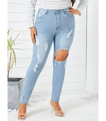 denim rasgado aleatorio recortado de talla grande pantalones