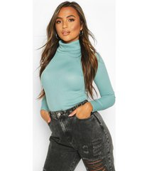 petite rib long sleeved turtle neck top, turquoise