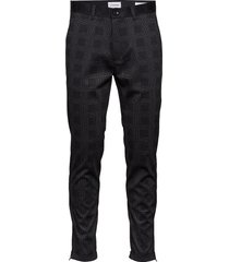 cropped pant - knitted checked casual byxor vardsgsbyxor svart lindbergh