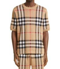 burberry wells check jacquard silk & wool sweater t-shirt, size large in soft fawn at nordstrom