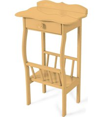 mesa lateral apoio sala revisteiro bege - bege - dafiti