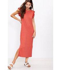 loft back twist ruffle sleeve dress