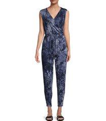 tiana b women's yummy suits tie-dye jumpsuit - blue white - size m