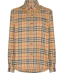 classic checked shirt with chain necklace