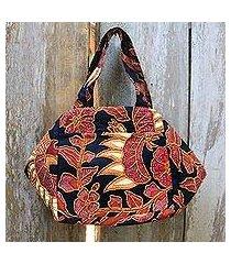 beaded cotton batik handbag, 'black peacock' (indonesia)