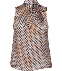 3359 - prosa top tie blouse mouwloos bruin sand