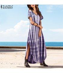 zanzea más el tamaño s-5xl de verano vestidos de las mujeres del tinte cara de impresión de split flojo vestido largo curvados hem manga corta de impresión vestido maxi (azul) -azul