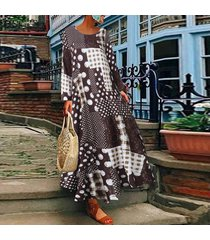 zanzea plus s-5xl vestido de camisa de lunares de manga larga para mujer vestido midi étnico vintage -café