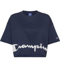 crewneck t-shirt crop tops blå champion