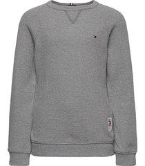 mini waffle cn tee l/s sweat-shirt tröja grå tommy hilfiger
