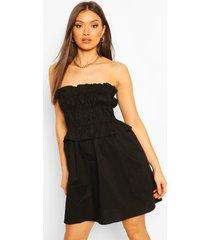 katoenen bandeau rechte jurk met ruches, zwart