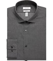 calvin klein infinite non-iron charcoal geometric slim fit dress shirt