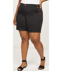 lane bryant women's bermuda short - button sides 12 black