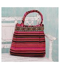 cotton shoulder bag, 'gujarat pink fantasy' (india)