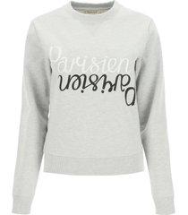 maison kitsuné sweatshirt with mirrored logo