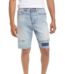 men's ksubi men's wolf kolor stitch shorts, size 36 - blue