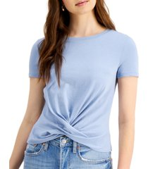 bar iii cotton twist-front t-shirt, created for macy's