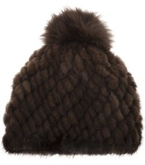 max mara delia beanie in brown fur