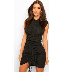 geplooide t-shirt jurk met schouderpads, black