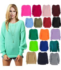womens oversized baggy long thick knitted plain chunky top sweater ladies jumper