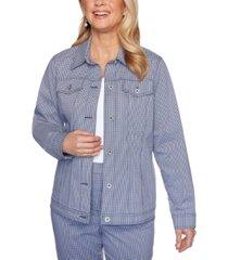 alfred dunner petite easy street gingham-print jacket