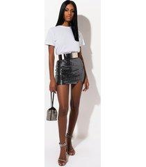 akira sassy girl slit front metallic mini skirt
