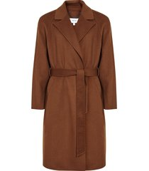 reiss vincent - wool belted overcoat in tobacco, mens, size xxl