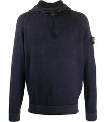 stone island knitted compass badge hoodie - blue